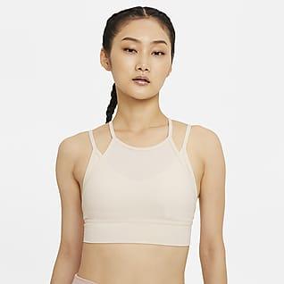 Nike Yoga Indy Novelty สปอร์ตบราผู้หญิงซัพพอร์ตระดับต่ำเสริมฟองน้ำ