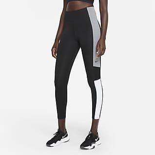 Nike Dri-FIT One Dámské 7/8 legíny se středně vysokým pasem ačernými pruhy