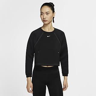 Nike Pro Fleecetröja med rund hals för kvinnor