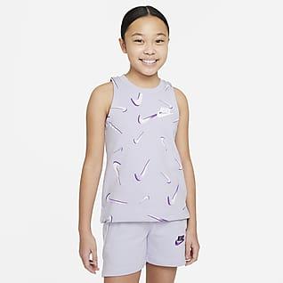 Nike Sportswear เสื้อกล้ามเฟรนช์เทรีพิมพ์ลายเด็กโต (หญิง)