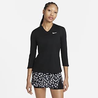 NikeCourt Dri-FIT UV Victory Dámské tenisové tričko stříčtvrtečním rukávem