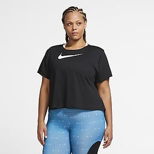 Nike Swoosh Run Damska koszulka do biegania z krótkim rękawem (duże rozmiary)