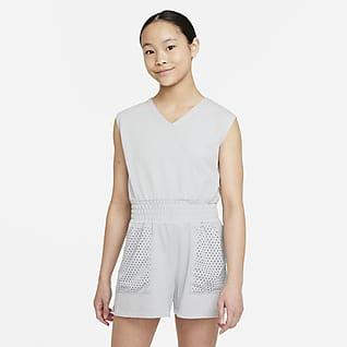 Nike Dri-FIT Enterito de entrenamiento para niña talla grande