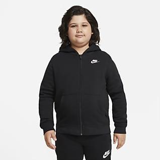 Nike Sportswear Club Fleece Hettejakke med hel glidelås til store barn (gutt) (utvidet størrelse)
