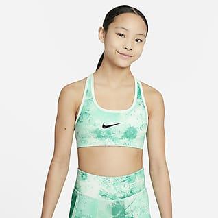 Nike Swoosh Oboustranná sportovní podprsenka sbatikovaným potiskem pro větší děti (dívky)
