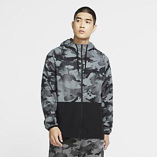 Nike Pro Flex Vent Kamouflagemönstrad jacka med hel dragkedja för män