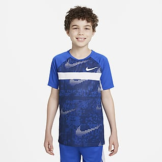 Nike Dominate Prenda para la parte superior de entrenamiento estampada de manga corta para niño talla grande