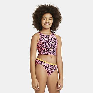 Nike Conjunto de midkini con tirantes cruzados para niña talla grande