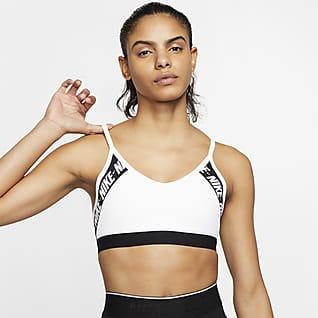 Nike Dri-FIT Indy Sutiã de desporto almofadado de suporte ligeiro com logótipo para mulher