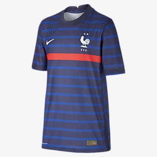 Домашняя форма сборной Франции 2020 Vapor Match Футбольное джерси для школьников