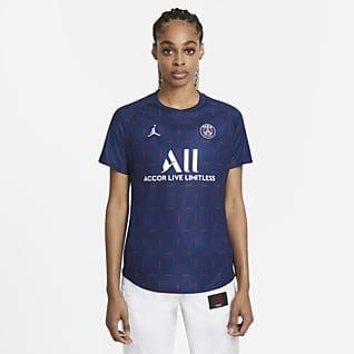 Paris Saint-Germain (wersja domowa) Damska przedmeczowa koszulka piłkarska z krótkim rękawem