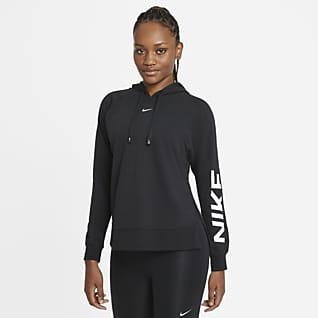 Nike Dri-FIT Get Fit Träningshuvtröja i pullover-modell med tryck för kvinnor