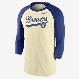 Nike Cooperstown Script (MLB Milwaukee brewers) Men's 3/4-Sleeve T-Shirt