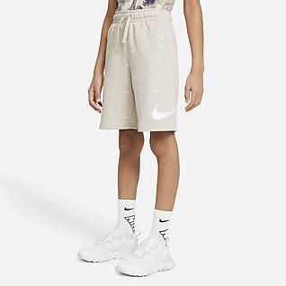 Nike Sportswear Swoosh Frottéshorts til store børn (drenge)