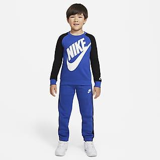 Nike Caja de conjunto de sudadera de cuello redondo y pantalones para niños talla pequeña