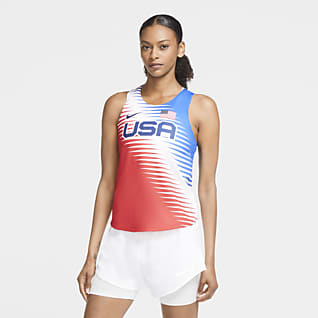 Nike Dri-FIT ADV Team USA AeroSwift Camisola de running sem mangas para mulher
