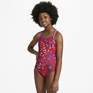 Nike Traje de baño de una sola pieza con espalda en T para niñas talla grande