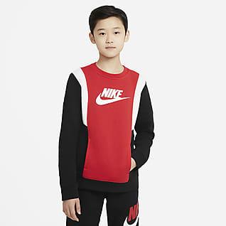 Nike Sportswear Flísová mikina s kulatým výstřihem pro větší děti (chlapce)