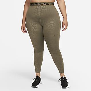 Nike Pro Dri-FIT Leggings estampados de cintura alta de 7/8 para mujer (talla grande)