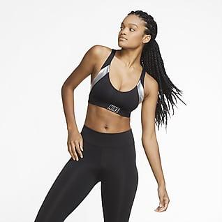 Nike Indy Gewatteerde sport-bh met metallic print en lichte ondersteuning