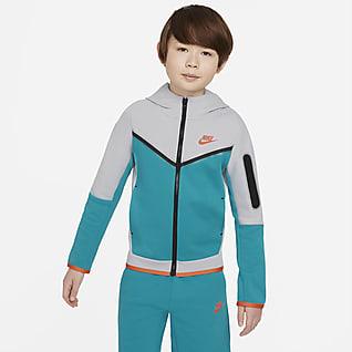 Nike Sportswear Tech Fleece Mikina s kapucí a zipem po celé délce pro větší děti (chlapce)