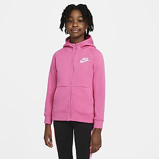 Nike Sportswear Κοριτσίστικη μπλούζα με κουκούλα και φερμουάρ σε όλο το μήκος