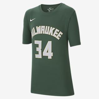 Giannis Antetokounmpo Bucks Tee-shirt de joueur Nike NBA pour Enfant plus âgé