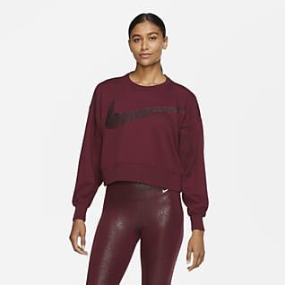 Nike Dri-FIT Get Fit Γυναικεία φλις μπλούζα προπόνησης με γυαλιστερή όψη