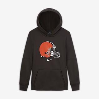 Nike Essential Cleveland Browns Μπλούζα με κουκούλα και λογότυπο για μεγάλα αγόρια