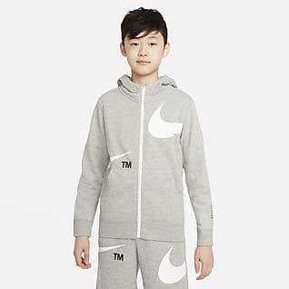 Nike Sportswear Swoosh Φλις μπλούζα με κουκούλα και φερμουάρ σε όλο το μήκος για μεγάλα αγόρια