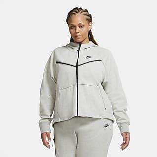 Nike Sportswear Tech Fleece Windrunner Γυναικεία μπλούζα με κουκούλα και φερμουάρ σε όλο το μήκος (μεγάλα μεγέθη)