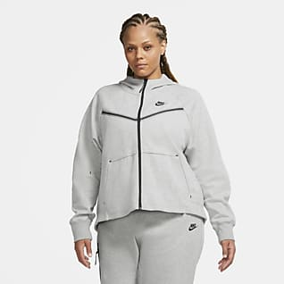 Nike Sportswear Tech Fleece Windrunner Huvtröja med hel dragkedja för kvinnor (Plus Size)