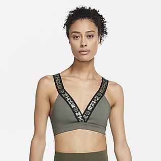 Nike Indy Icon Clash Bra scollato imbottito a sostegno leggero - Donna