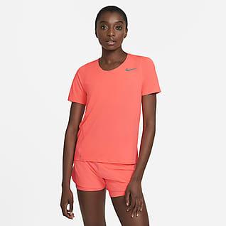 Nike City Sleek Løbeoverdel med korte ærmer til kvinder
