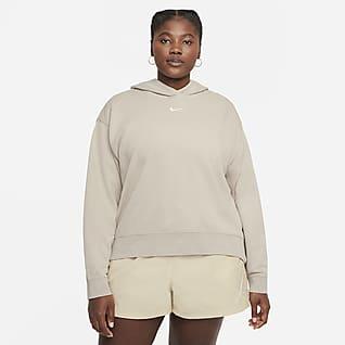 Nike Sportswear Essential Collection Γυναικεία φλις μπλούζα με κουκούλα και ξεθωριασμένη όψη (μεγάλα μεγέθη)