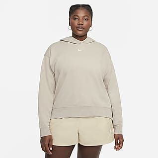 Nike Sportswear Essential Collection Tvättad fleecehuvtröja för kvinnor (Plus Size)