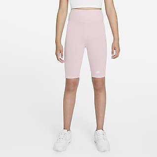"Nike Sportswear Big Kids' (Girls') High-Rise 9"" Bike Shorts"