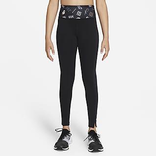Nike Dri-FIT One Luxe Leggings med print til større børn (piger)