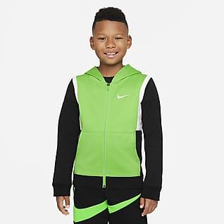 Nike Therma-FIT Elite Sudadera con capucha de básquetbol de cierre completo para niño talla grande