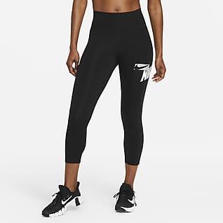 Nike One 女子中腰印花紧身中长裤