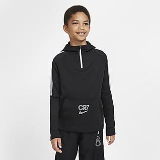 Nike Dri-FIT CR7 Fotbalová mikina skapucí ačtvrtinovým zipem pro větší děti