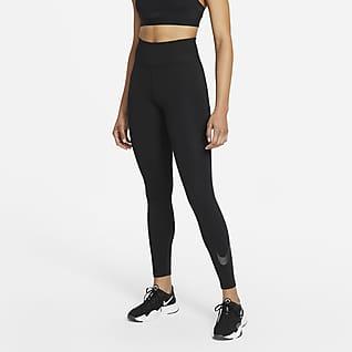 Nike One Icon Clash 7/8-Tights mit mittelhohem Bund und Grafik für Damen