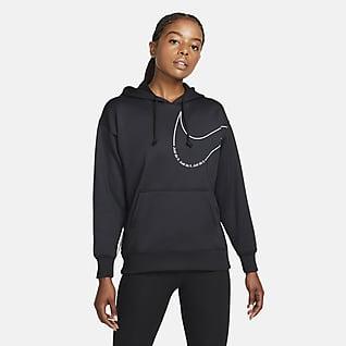 Nike Therma-FIT Damska bluza treningowa z dzianiny z kapturem i grafiką