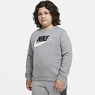 Nike Sportswear Club Fleece Mikina pro větší děti (chlapce) (rozšířená velikost) s kulatým výstřihem