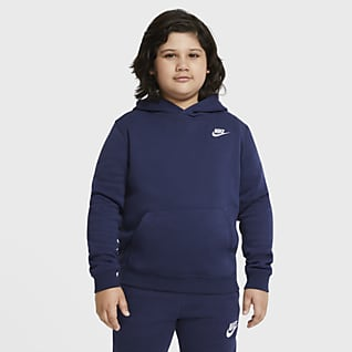 Nike Sportswear Club Fleece Mikina s kapucí pro větší děti (chlapce) (rozšířená velikost)