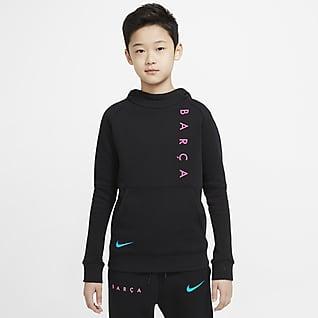 FC Barcelona Fleece Genç Çocuk Kapüşonlu Futbol Sweatshirt'ü