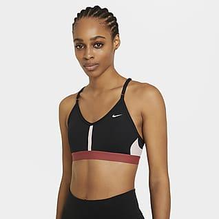 Nike Dri-FIT Indy Enyhe tartást adó, párnázott, V-nyakú női sportmelltartó