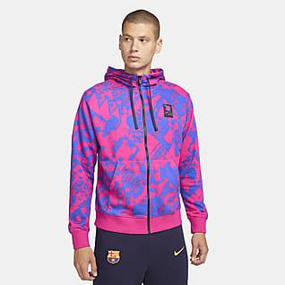FC Barcelona Sudadera con capucha de fútbol de cierre completo para hombre