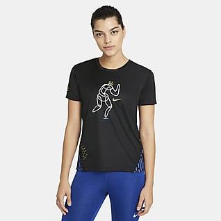 Nike Miler Hackney Kortermet løpeoverdel til dame
