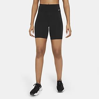 Nike One Bikeshorts met halfhoge taille voor dames (18 cm)